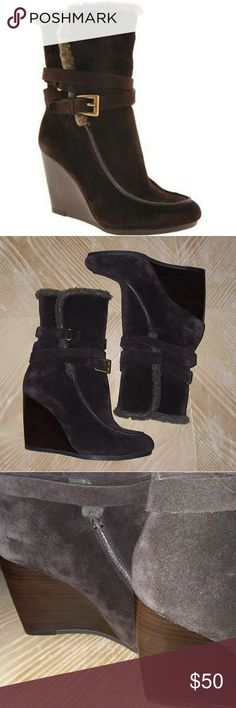 JOAN & DAVID DAFLORITA  BROWN SUEDE WEDGE BOOTS Joan & David brown leather suede wedge boots with faux fur detail. Wrap around ankle buckle detail. Like  new. Joan & David Shoes Wedges