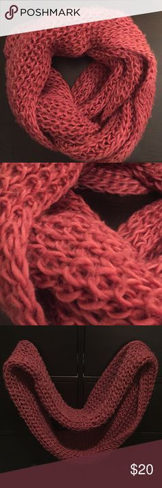 Pink Circle Scarf Circle scarf, can wrap twice around the neck. Acrylic and warm! Great condition! Accessories Scarves & Wraps