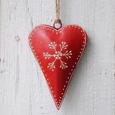 Petit Décoration Coeur Rouge Avec Flocon De Neige | @dotcomgiftshop