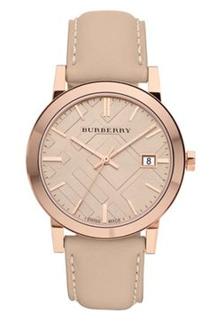 Burberry Check Stamped Round Dial Watch | Nordstrom