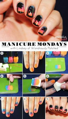 Great Nail tutorial website with different methods using tape, sponges & lace manicures!!