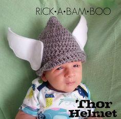 Baby Thor Crochet Helmet | rickabamboo.com | #costume #superhero #infant