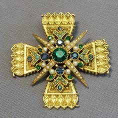 Gorgeous HUGE Seed Pearl & Rhinestone MALTESE Cross Pendant Brooch Signed ART