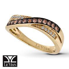 LeVian Chocolate Diamonds 1/4 ct tw Ring 14K Honey Gold