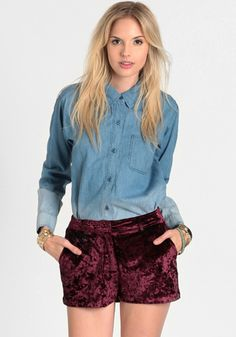 Witching Hour Velvet Shorts 38.00 at threadsence.com
