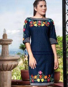 Embroidery Suits, Embroidery Fashion, Casual Dresses, Fashion Dresses, Short Sleeve Dresses, Denim Fashion, Womens Fashion, Mexican Fashion, Party Wear Lehenga