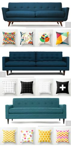 Inspiration: Mid-Century Sofa and beautiful pillows.love the couch colors! Mid Century Sofa, Mid Century Furniture, Decoration Of Living Room, Sofa Design, Home Furniture, Furniture Design, Wicker Furniture, Blue Couches, Navy Sofa