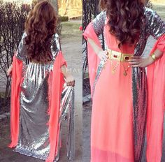 Pink and silver kurdish dress