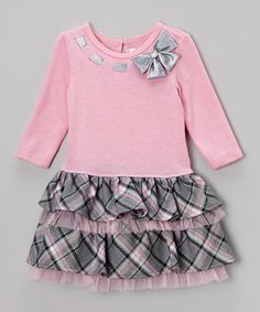 Take a look at this Pink & Gray Plaid Drop-Waist Dress - Toddler on zulily today!