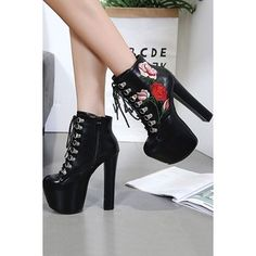 Black Floral Embroidered Lace Up Platform Chunky Heel Ankle Booties