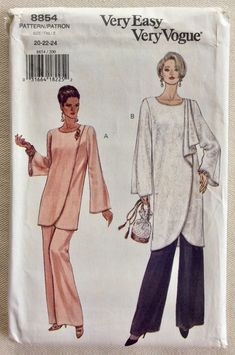 Vogue Pattern 8854 Pullover Tunic w/Offset Faux Wrap Front, Opt. Drape and Shaped Hem and Elastic Waist Wide Leg Pants - Sizes UNCUT by GertAndElmer on Etsy Tunic Sewing Patterns, Vogue Patterns, Vintage Sewing Patterns, Dress Patterns, Vintage Wear, Vintage Outfits, Vintage Fashion, Mature Fashion, Sewing Material