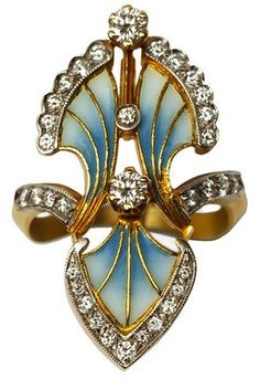 Masriera Enamel & Diamond Floral Ring Art Nouveau Inspired 18K Yellow Gold 34 Round Brilliant Cut, Prong Set Diamonds Measures 1.25 x 0.75 Inches Enamel Paint by Hand Handmade in Spain