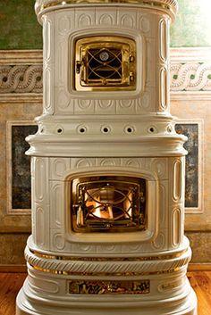 Viennese , Ceramic Wood Burning Stoves by Sergio Leoni