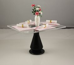 scale dining table by Canadian artisan Janet Harvie. Available from Small Scale Showcase. Miniature Furniture, Dollhouse Furniture, Dollhouse Miniatures, Scale, Artisan, Dining Table, Glass, Handmade, Weighing Scale