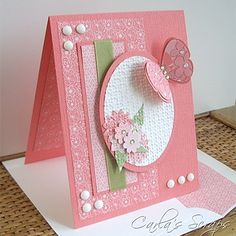 Gorgeous card by Carla Bazhenow. love the texture and colors! she use the embedded embossing technique on the oval and includes a tutorial :) Butterfly Cards, Flower Cards, Green Butterfly, Pretty Cards, Cute Cards, Pink Cards, Embossed Cards, Paper Cards, Creative Cards