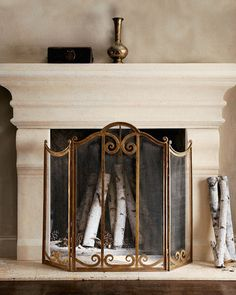 Shop fireplace screens and mantels at Horchow. Make your fireplace a little extra fancy with these mantel screens and more. Classic Fireplace, Faux Fireplace, Fireplace Design, Fireplace Ideas, Faux Mantle, Cast Stone Fireplace, Granite Fireplace, Fireplace Remodel, Fireplace Surrounds
