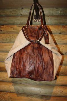 borsa in canvas vintage e pelle di LaSellerieLimited su Etsy, $340,00