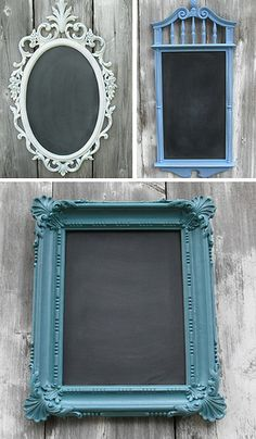 Buy inexpensive frames, paint the frame, and paint the glass with chalkboard paint