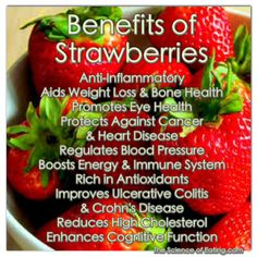 The sweet, slightly tart strawberries rank among the top 10 fruits and vegetables in antioxidant capacity. Their deep, rich hue supplies a high flavonoid content which supports major health benefits. Delicious and healthy! Strawberry Health Benefits, Strawberry Nutrition, Healthy Tips, Healthy Recipes, Healthy Foods, Eating Healthy, Strawberry Plants, Grow Strawberries, Strawberry Fields