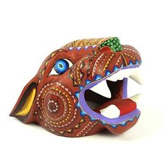 RED JAGUAR HEAD Oaxacan Alebrije Wood Carving Handcrafted Mexican Folk Art Sculpture