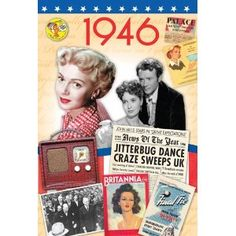 A 1946 DVD documentary film (60 minutes) comes attached to a two-fold 1946 greeting card (blank inside) to create a fabulous gift for anyone born (or married) in this year. http://www.amazon.co.uk/20th-Century-History-What-Happened/dp/B007U1WTEC/ref=sr_1_1?s=dvd=UTF8=1364391274=1-1 £12.50