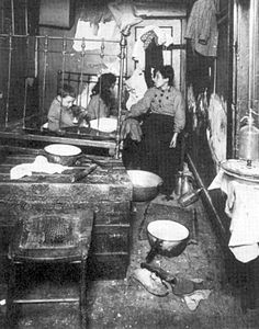 Crowded immigrant tenement, early 20th century, USA