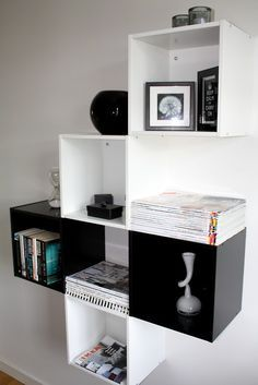 The shelf is made of Ikea´s Förhöja, 2 black and 3 white. Ikea Eket, Ikea Wall, Shelf Furniture, Home Furniture, Trendy Bedroom, Kids Bedroom, Ikea Living Room, Guest Room Office, Buy Furniture Online