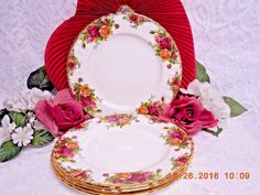 Royal Albert China Dinnerware England Old country roses 4 Bread plate  #Luxury #Dinnerware, #Crystal, #cupcake #glass #tabletop #handmade #handcrafted #Bath  #Body #products #lotions #bathbombs #Cup #dinner #serving