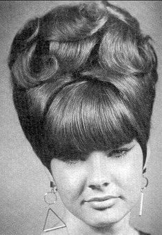 "Vintage Hairstyles Retro When Vivian was asked how she liked her bangs, she said ""they're ok. Night Hairstyles, Retro Hairstyles, Beehive Hairstyles, Updos Hairstyle, Hairstyles Videos, Wedding Hairstyles, Bad Hair, Hair Day, 1960s Hair"