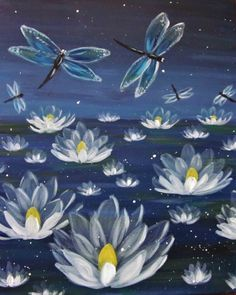 Check out Mystical Dragonflies and Lilies at Divine Restaurant - Paint Nite Event Dragonfly Painting, Lily Painting, Dragonfly Art, Painting & Drawing, Acrylic Art, Painting Inspiration, Art Pictures, Watercolor Art, Canvas Art