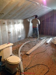 Insulation of vaulted ceiling heres the progress with most cellulose insulation being installed in the attic of a home in the toledo ohio area solutioingenieria Choice Image