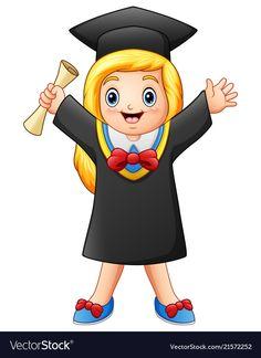 Cartoon graduate girl with diploma Royalty Free Vector Image Free Vector Images, Vector Free, Vector Stock, Girl Cartoon, Kids And Parenting, Chibi, Cartoons, Baby Boy, Template