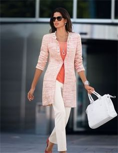 Tweed frock coat, Jumper, Handbag, Necklace, Trousers