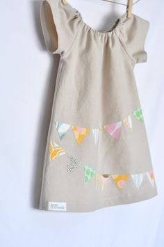 "Bunting Applique Peasant Dress    Cute popular ""Bunting"" detail (birds or owls would be cute too)"