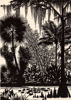 "1941 DON BLANDING Original Art Deco Vintage Print ""More Florida Skies"""