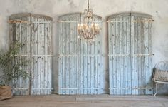 Antique Shabby Blue Barn Oak Doors