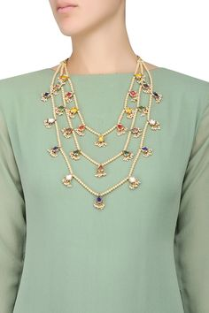 OSR Jewellers presents Gold plated navratan stone 3 string necklace available only at Pernia's Pop Up Shop.