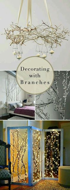 Decorating with Branches Lots of Branch Decor Ideas DIY Projects & Tutorials! Love the room divider and the chandelier! Treatment Projects Care Design home decor