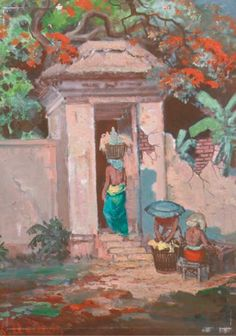 (2) Sudjono Abdullah (Indonesian, 1911-1991) A temple entrance, Bali signed 'S. Abdullah' (lower left) oil on canvas 68 x 49 cm; and An oil on canvas depicting a beauty from Borneo by D. Jama'an (2)