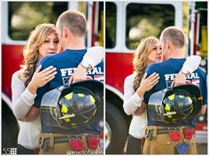 Megan and Ryan had the awesome idea of taking some of their photos while Ryan was wearing his fireman gear. So, we started this session at a local Fire station Firefighter Engagement Pictures, Firefighter Wedding, Country Engagement, Wedding Engagement, Engagement Session, Engagement Ideas, Engagements, Engagement Photography, Wedding Photography