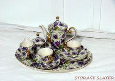VINTAGE PORCELAIN CHILDS DOLL VICTORIAN STYLE PURPLE FLOWER TEA COFFEE SET