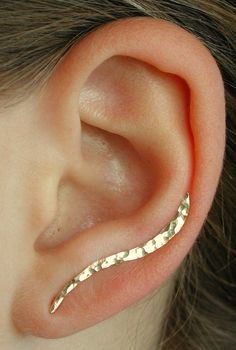 Ear Pin - Hand Hammered Wave - 14K Gold Filled or Sterling Silver - Single Side or Pair