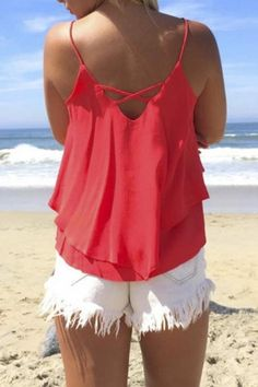 carolineyeah233:Colorful Summer  Sleeveless Strap Loose Fit Tank...