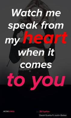 David Guetta ft Justin Bieber - 2U Lyrics and QuotesWhen it comes to youThere's no crime, let's take both of our souls and intertwineWhen it comes to you, don't be blindWatch me speak from my heart, when it comes to youComes to you#DavidGuetta #JustinBieb