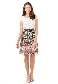 #CatoSummerStyle Cato Fashions Crochet and Zebra Print Dress #CatoFashions