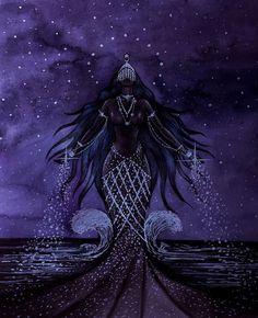 lemanja Sticker by potatoisdrawing - White - Goddess Of The Sea, Black Goddess, Goddess Art, Moon Goddess, Sexy Black Art, Black Love Art, Sacred Feminine, Divine Feminine, Yemaya Orisha