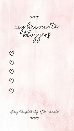 Instagram Story Template Pink Theme My Favourite Bloggers #instagram #storytemplates #instagramstorytemplates #storytemplate #insta