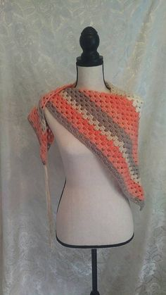 Coral Gray Cream Granny Triangle Shawl/Statement Scarf with