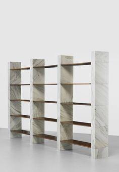 Afra and Tobia Scarpa. prototype Cisonio bookcase. 1967, marble, oak.