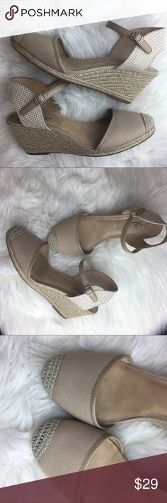 Lucky Brand Lucky Brand Nude Wicker Wedge Heel Mary Jane Closed Toed With Buckle Closure Size 9 Like New Condition Lucky Brand Shoes Wedges